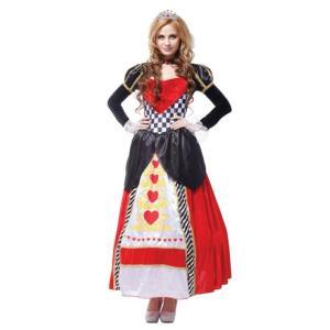 ハートの女王 コスチューム 魔女 レディース ワンピース ハロウィン コスプレ 白雪姫 アリス 王女...