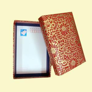 漆 紙箱 はがき用 赤格子 黒格子 赤金菊 茶薔薇 黒薔薇|yohira