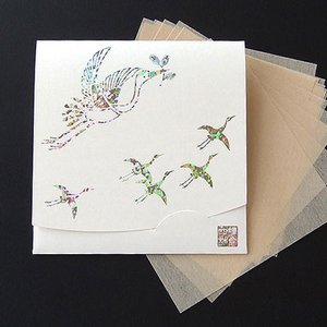 祝い鶴 「生成り」方形サイズ