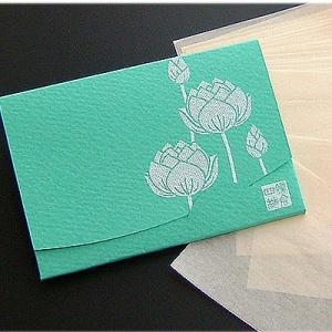 蓮  【緑】  「絹すき」 短冊サイズ yohira
