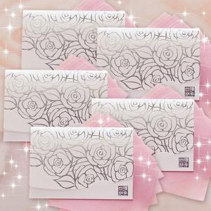 ホワイト香りローズ・シルバー【おまとめ5冊】短冊サイズ|yohira