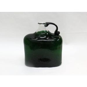 手作り西川硝子 泡入り取っ手付四角瓶 グリーン|yojigon