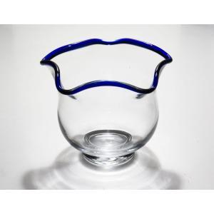 手作りガラス 金魚鉢 青(S)|yojigon
