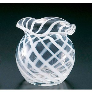 手作りガラス 白ライン入り金魚鉢型花入れ|yojigon