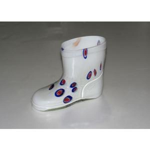 手作りガラス 長靴型白模様入り花瓶|yojigon