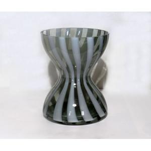 手作りガラス 縦しま鼓型花びん|yojigon
