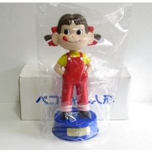 不二家 ペコ50周年記念 ペコちゃん首ふり人形 青い台座|yojigon
