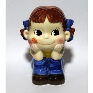 不二家ペコちゃん 陶器 貯金箱 青色|yojigon