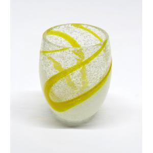 琉球ガラス 泡ちゅら風グラス  黄 yojigon