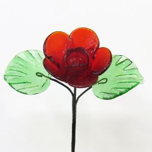 琉球ガラス バラ  赤色 yojigon