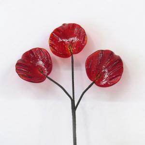 琉球ガラス 三枚葉  赤色|yojigon