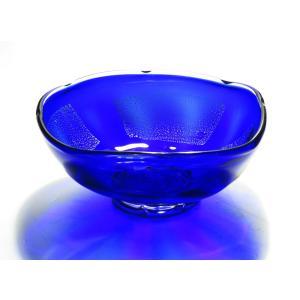 ちくてつガラス 金箔張り菓子器角青色|yojigon
