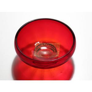 ちくてつガラス 金箔張り菓子器赤色|yojigon