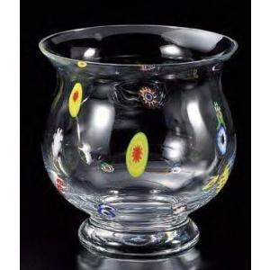 手作りガラス 硝子【金魚鉢】クリア花柄金魚鉢|yojigon