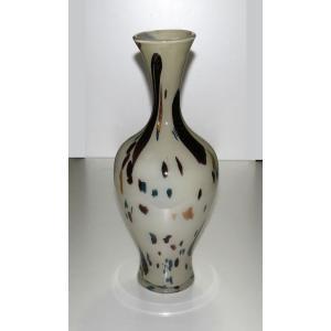 手作りガラス 乳白地流れ点もよう金色入り長つぼ型花びん(大)|yojigon