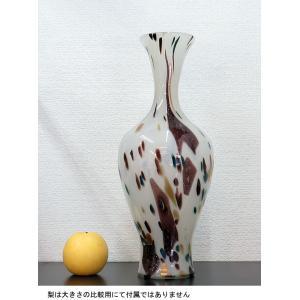 手作りガラス 乳白地流れ点もよう金色入り長つぼ型花びん(大)2|yojigon