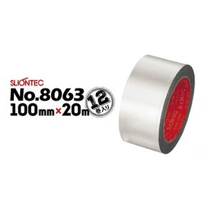 マクセル スリオンテック アルミテープ No.8063 超耐熱アルミ箔粘着テープ ツヤなし 100mm×20m 12巻 高温ダクト目地シール 排気筒 キッチンアルミシートの固定|yojo