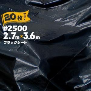 ブラックシート #2500 BLACK 2.7m×3.6m 20枚   建築資材 工事現場 用品 仮設 養生 保護 防炎 外廻り外回り|yojo