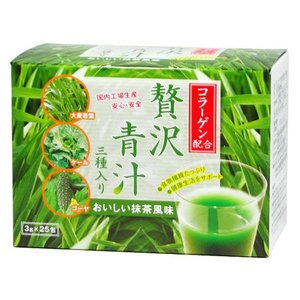 コラーゲン配合 贅沢青汁 三種入り(大麦若葉・ケール・ゴーヤ) 3g×25包|yoka1