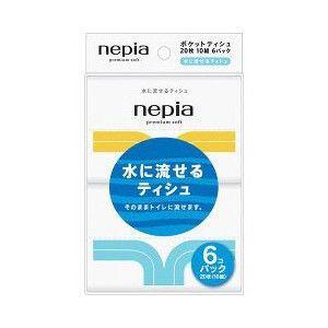 ネピア Premium Soft 水に流せるポケットティシュ 6コパック(20枚10組)