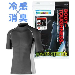 おたふく手袋 BT冷感・消臭パワーストレッチ半袖シャツ M(ブラック) JW-624