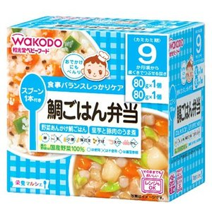 和光堂ベビーフード 栄養マルシェ 鯛ごはん弁当 野菜あんかけ鯛ごはん/里芋と豚肉のうま煮  80g×2パック  9ヵ月頃から/離乳食