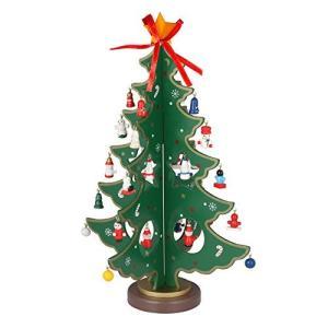 KEYNICE クリスマスツリー ミニ木製 グリーン 36cm 卓上 28個オーナメント付き クリスマス プレゼント 飾り インテ|yokamonshouten