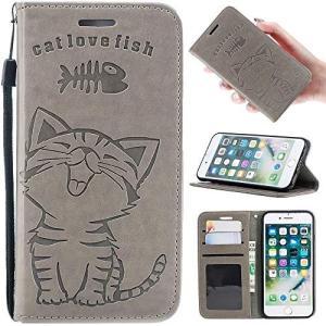 Zoeking iPhone7手帳型ケース 人気 おしゃれ iPhone8 ケース 手帳型 かわいい 猫柄と魚柄 ねこ にゃんこ ネコ 動物柄|yokamonshouten