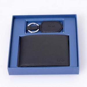 アルマーニジーンズ(ARMANI JEANS) 2つ折り財布+キーホルダーセット ブラック 【正規取扱店】|yokoaunty