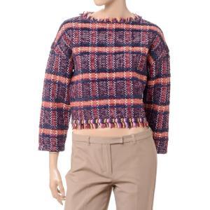 コーヘン Coohem 背中ファスナーチェックセーター ツィード オレンジレッド|yokoaunty