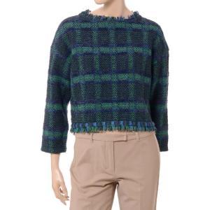 コーヘン Coohem 背中ファスナーチェックセーター ツィード グリーンネイビー|yokoaunty