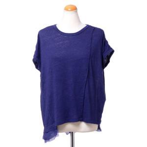 パドカレ pas de calais 別布付き半袖Tシャツ リネン天然染め パープル|yokoaunty