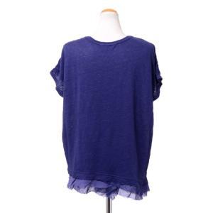 パドカレ pas de calais 別布付き半袖Tシャツ リネン天然染め パープル yokoaunty 03