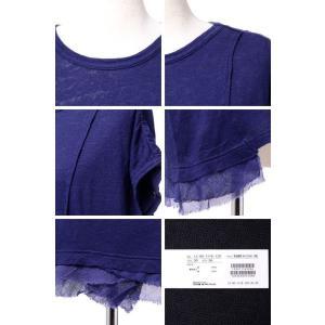 パドカレ pas de calais 別布付き半袖Tシャツ リネン天然染め パープル yokoaunty 05