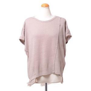 パドカレ pas de calais 別布付き半袖Tシャツ リネン天然染め ベージュ|yokoaunty