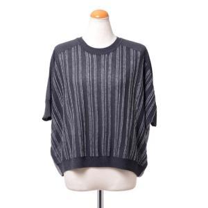 パドカレ pas de calais ストライプ五分袖セーター ミックス チャコール|yokoaunty