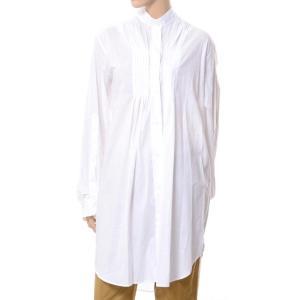 アンドゥムルメステール ann demeulemeester タック使いロングシャツ コットン ホワイト|yokoaunty