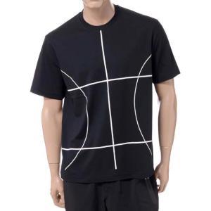 ブラックバレット BLACKBARRETT バイニールバレット by neil barrett コートラインプリントクルーネック半袖Tシャツ コットン ブラック yokoaunty