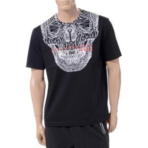 ブラックバレット BLACKBARRETT バイニールバレット by neil barrett 3Dメッシュスカルプリントクルーネック半袖Tシャツ コットン ブラック yokoaunty