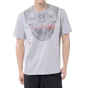 ブラックバレット BLACKBARRETT バイニールバレット by neil barrett 3Dメッシュスカルプリントクルーネック半袖Tシャツ コットン グレー yokoaunty