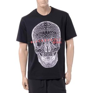 ブラックバレット BLACKBARRETT バイニールバレット by neil barrett 前面3Dメッシュスカルプリントクルーネック半袖Tシャツ コットン ブラック yokoaunty