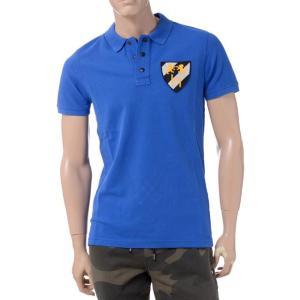 ハイドロゲン(Hydrogen) ワッペン付き半袖ポロシャツ ブルー|yokoaunty
