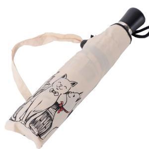 ギドゥジャン Guy de jean ネコプリント折り畳み傘 ポリエステル(撥水加工) アイボリー|yokoaunty