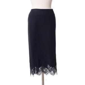 エルマノシェルビーノ(ermanno scervino) 裾レースタイトスカート 一枚仕立て ブラック|yokoaunty