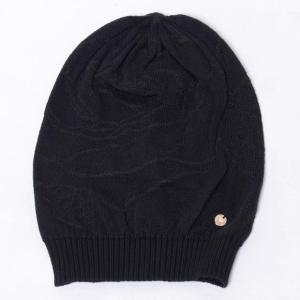 アルマーニジーンズ(ARMANI JEANS) 透かしローズニット帽 ウールハイゲージ ブラック yokoaunty