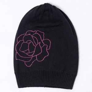 アルマーニジーンズ(ARMANI JEANS) ピンクローズラインストーンニット帽 ウールハイゲージ ブラック yokoaunty