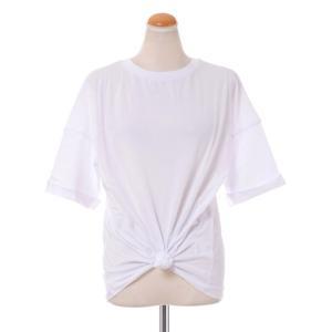 テラ TELA 裾縛り半袖カットソー コットンジャージー ホワイト|yokoaunty