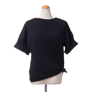 テラ TELA 裾縛り半袖カットソー コットンジャージー ブラック|yokoaunty