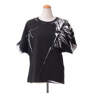 テラ TELA プリーツスリーブTシャツ コットンジャージー ブラック|yokoaunty