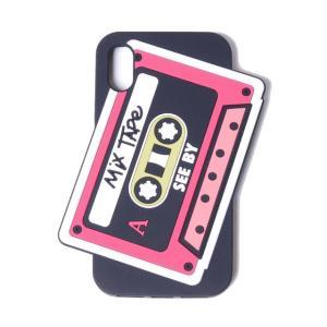 シーバイクロエ see by chloe カセットiPhone X用ケース シリコン ブラック|yokoaunty